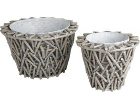 Cache pot en osier et zinc (Lot de 2)