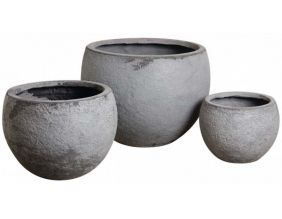 Cache-pot rond en fibre de ciment (Lot de 3)