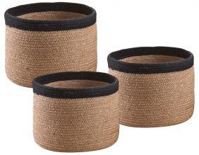 Cache-pot rond en jute (Lot de 3) (Naturel)