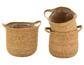 Cache-pots ronds en jonc (Lot de 3)