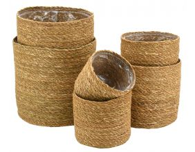 Cache-pots ronds en jonc naturel (Lot de 6)