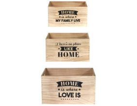 Caisse en bois empilables Home (Lot de 3)