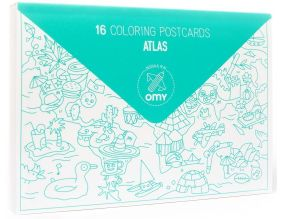 Cartes postales à colorier Atlas (Lot de 16) (Atlas)