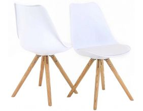 Chaise design Cross (Lot de 2) (Blanc Blanc)