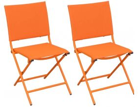 Chaise pliante textilène et acier (Lot de 2) (Orange)