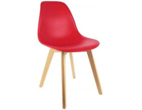 Chaise scandinave coque polypropylène (Rouge)