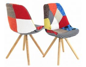 Chaise en tissu  Patchwork (Lot de 2)