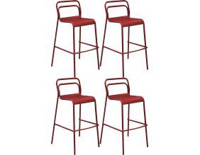 Chaises de bar en aluminium Eos (Lot de 4) (Rouge)