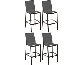 Chaises de bar en aluminium Ida (Lot de 4) (Gris)