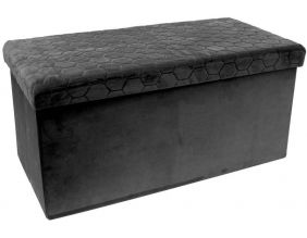 Coffre banc pliable velours noir assise relief