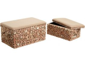 Coffres bancs en sapin (Lot de 2)