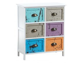 Commode 6 tiroirs multicolores