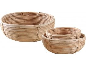 Corbeille ronde en rotin naturel (Lot de 3)