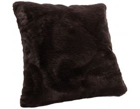 Coussin fausse fourrure Luxe 50 x 50 cm (Chocolat)