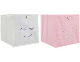 Cubes de rangement 30x30 cm (Lot de 2) (Girly - Rose et gris)
