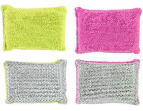 Eponge double-face microfibre (Lot de 2) (Rose et vert)
