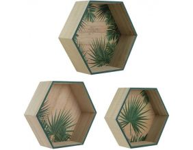 Etagère hexagonale en bois Jungle (Lot de 3)
