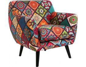 Fauteuil lounge tissu patchwork Margreet