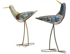 Mouettes décoratives en métal 52 cm (Lot de 2)