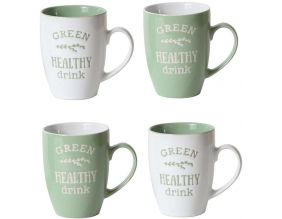 Mugs 25 cl My Little Market (Lot de 4) (Vert clair - blanc)