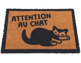 Paillasson fibres de coco Attention au chat