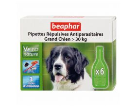 Pipettes répulsives antiparasitaires grand chien (Lot de 6)