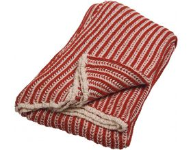 Plaid bicolore 100% coton Iseo (Rouge)