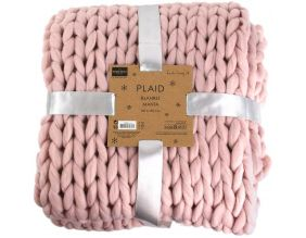 Plaid grosses mailles Chunky 120 x 150 cm (Rose)