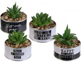 Plante artificielle pot en métal Happy working (Lot de 4)