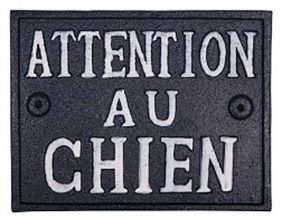 Plaque en fonte Attention au chien