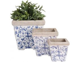 Pots en céramique patiné (Lot de 3)