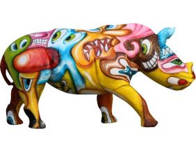 Rhinocéros design pop art en résine