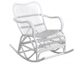 Rocking-chair en rotin (Blanc)