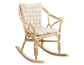 Rocking-chair en rotin naturel