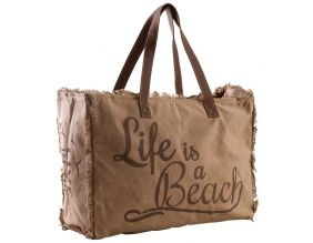 Sac en coton décor Life is a beach (Beige)