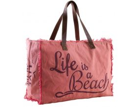Sac en coton décor Life is a beach (Rose)