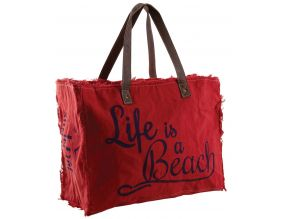 Sac en coton décor Life is a beach (Rouge)