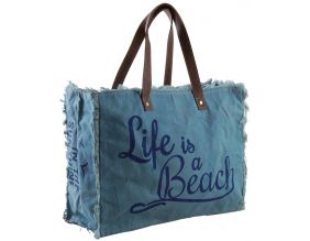 Sac en coton décor Life is a beach (Bleu)