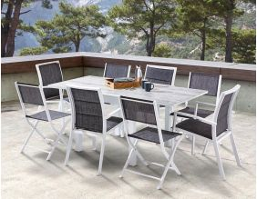 Salon de jardin design 8 personnes Modulo (Wood)