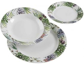 Service 18 assiettes en porcelaine Tropical