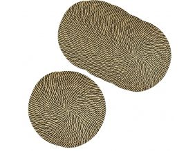 Set de table rond en jute naturelle (lot de 6) (Naturel et noir)
