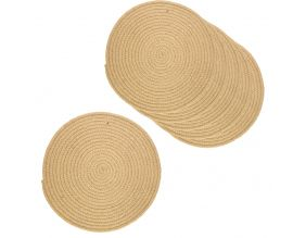 Set de table rond en jute naturelle (lot de 6) (Naturel)