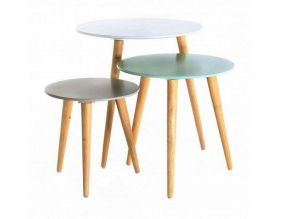 Tables gigognes colorées Stockholm (Lot de 3) (Blanc/Bleu/Gris)