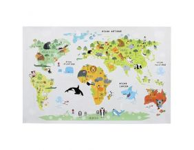 Sticker mural Mappemonde 90x60 cm (Continents colorés)