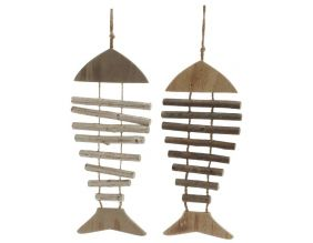 Suspension poissons en bois blanchi (Lot de 2)