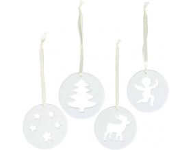 Suspensions Noël en porcelaine (Lot de 4)