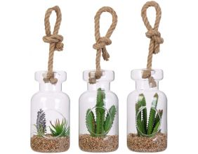 Suspensions en verre avec plantes artificielles 20 cm (Lot de 3)