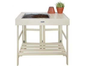 Table de rempotage en pin et zinc (Blanc)