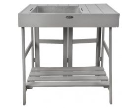 Table de rempotage en pin et zinc (Gris)