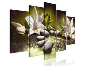 Tableau - Lilies and Stones (5 Parts) Wide Green (100x50)
